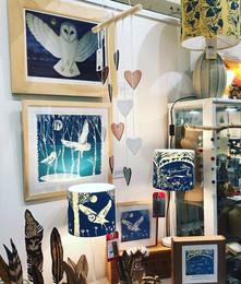 Sue Farrow-Jones framed prints & lampshades, handmade near East Allington