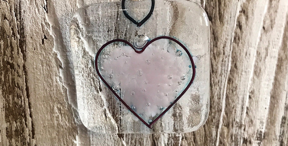 Glass Hanging with Pink Heart