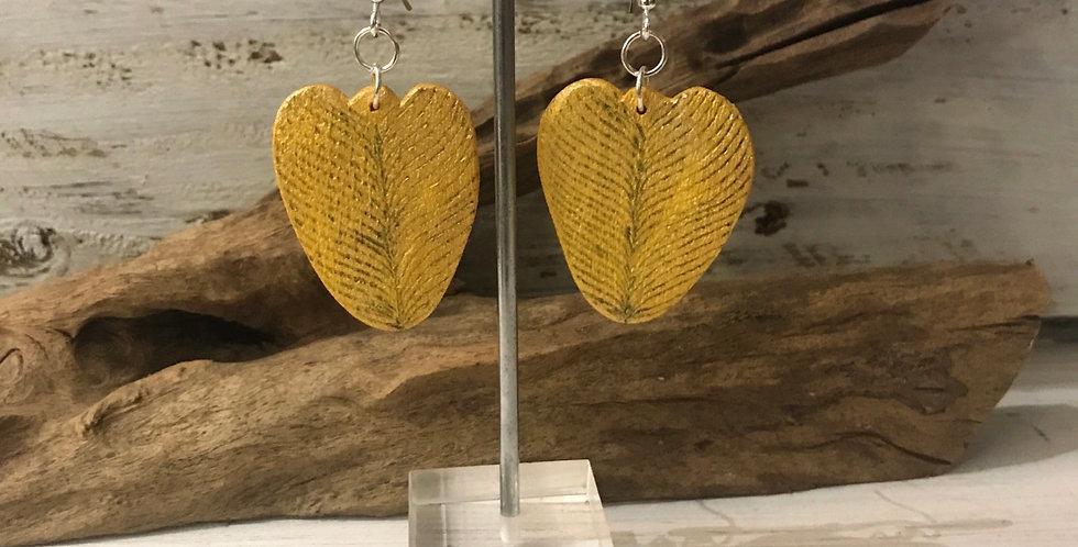 Handburnt Gold Wooden Heart Earrings