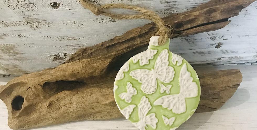 Butterfly Pattern Green Porcelain Bauble
