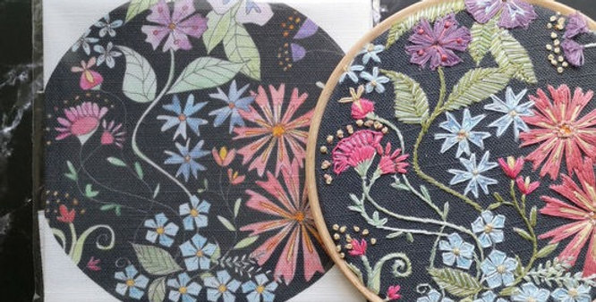Midnight Blooms Embroidery Linen Panel