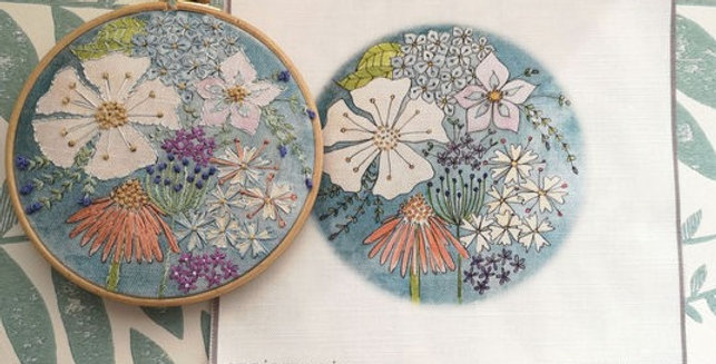 Cosmos Embroidery Linen Panel