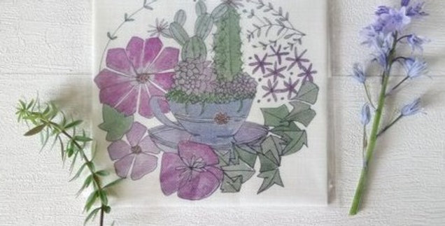 Teacup & Succulents Embroidery Linen Panel