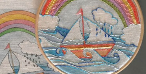 'I am not Afraid of Storms' Rainbow Embroidery Linen Panel