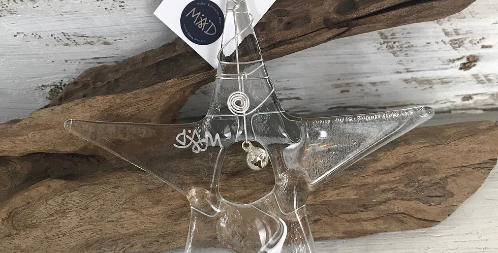 Clear Glass Star with Bell