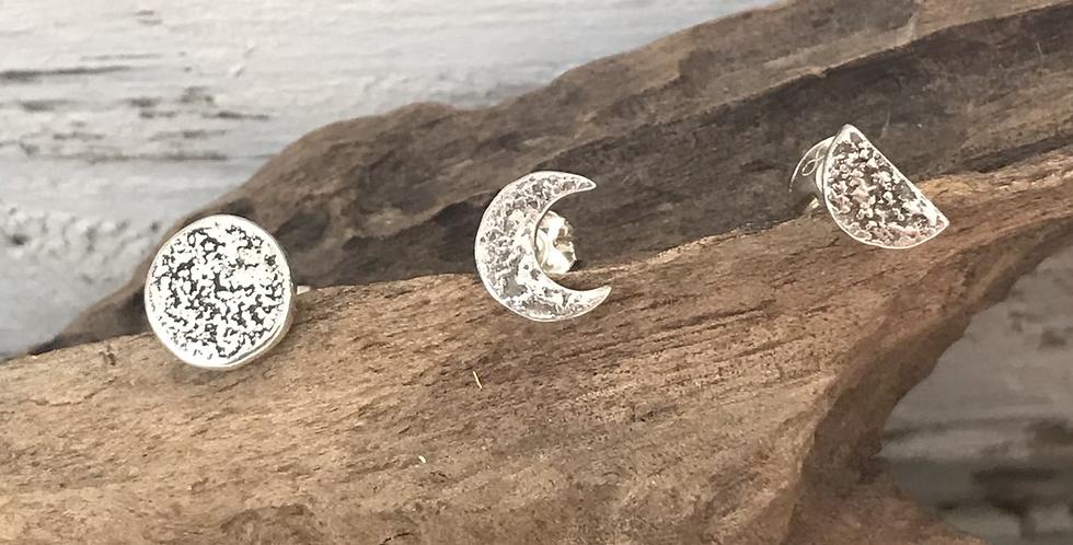 Silver Three Moons Studs Set