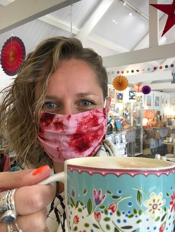 Soya latte from our cafe at Avon Mill & smiling behind my mask!