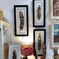 Cedarwood Art display, Plymouth pyrographer