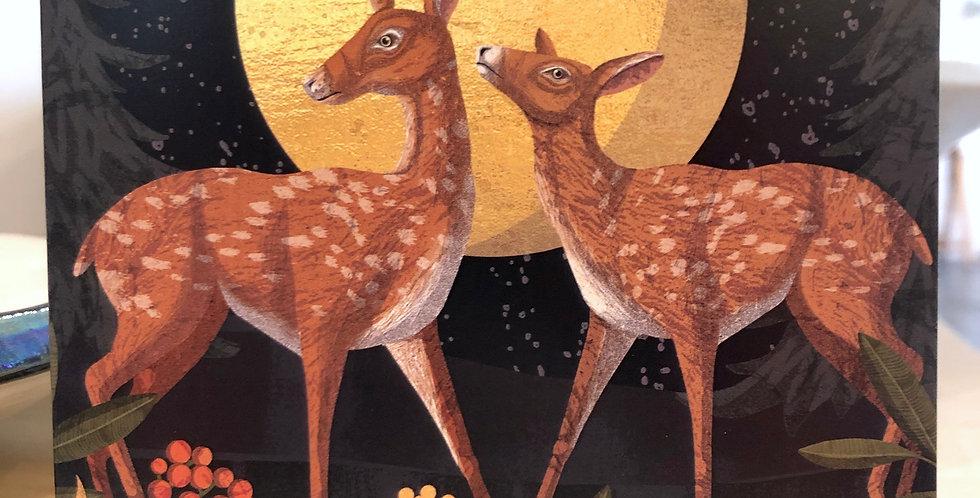 Deers in Moonlight Card