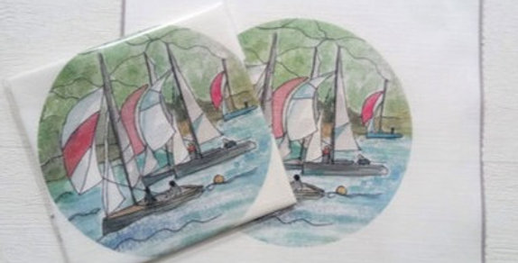 Dartmouth Sail Boats Embroidery Linen Panel