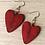 Thumbnail: Handburnt Red Wooden Heart Earrings