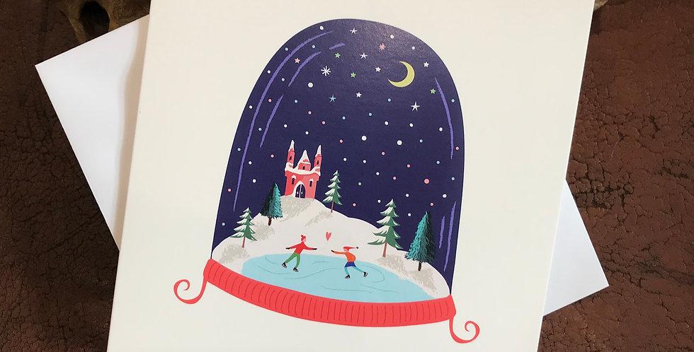 Snow Globe Skaters Christmas Card