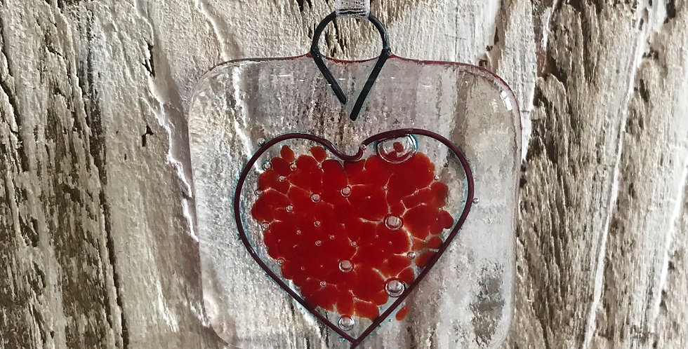 Glass Hanging with Bright Red Heart