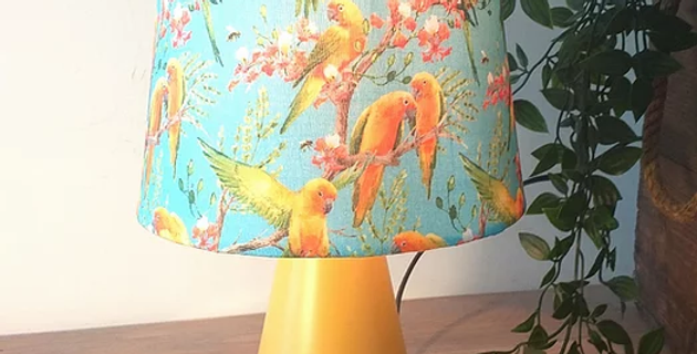 Birds Of Paradise Vintage Fabric Shade & Base