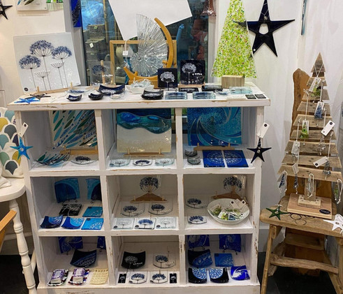 Mother & Daughter Glass display, handmade in Plymouth