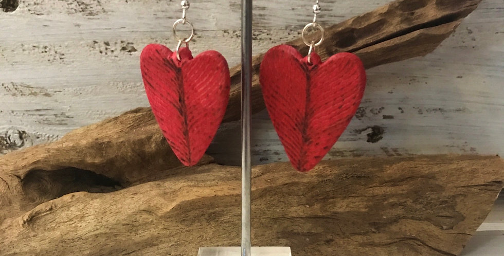 Handburnt Red Wooden Heart Earrings