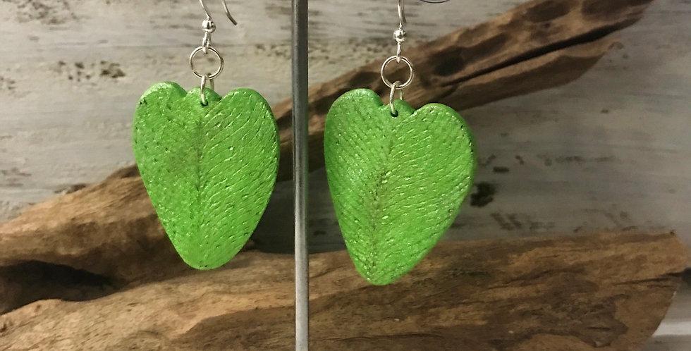 Handburnt Lime Wooden Heart Earrings