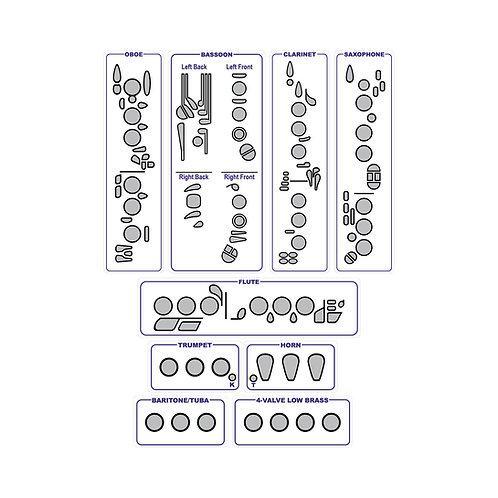 Woodwind and Brass Fingering Chart Magnets Combo Set - Mega Size