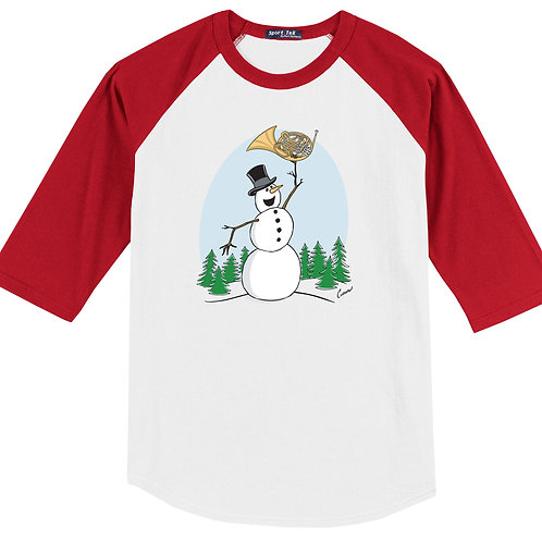Snowman Playing French Horn Red Shirt - (Original Curnow Design)