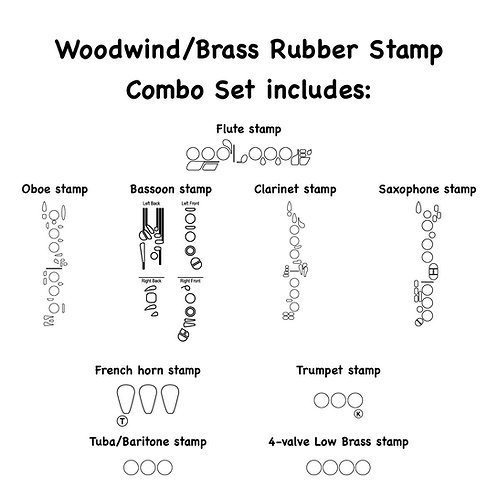 9-Piece Woodwind and Brass Combo Set Self-inking Rubber Stamps