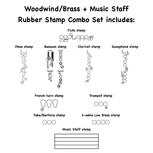 10-Piece Woodwind, Brass and Music Staff Combo Set Self-inking Rubber Stamps