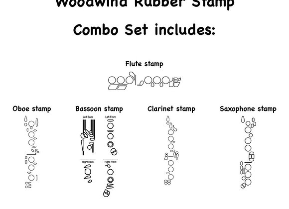5-Piece Woodwind Combo Set Self-inking Rubber Stamps