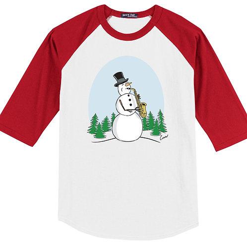 Snowman Playing Saxophone Red Shirt - (Original Curnow Design)