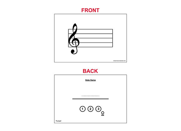 Fingering Chart Flash Cards - Trumpet