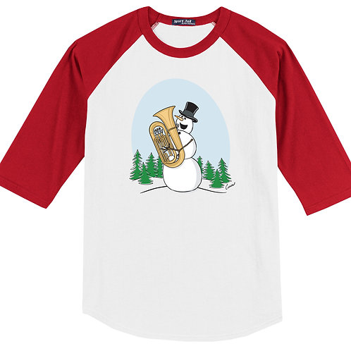 Snowman Playing Tuba Red Shirt - (Original Curnow Design)
