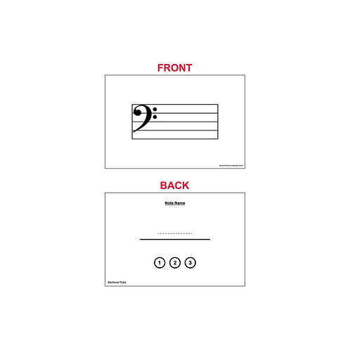 Fingering Chart Flash Cards - 3-Valve Baritone/Tuba