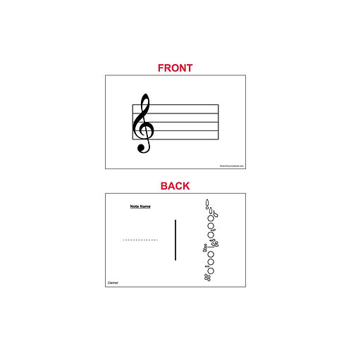 Fingering Chart Flash Cards - Clarinet