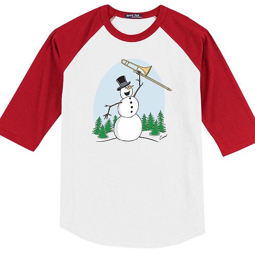 Snowman Playing Trombone Red Shirt - (Original Curnow Design)