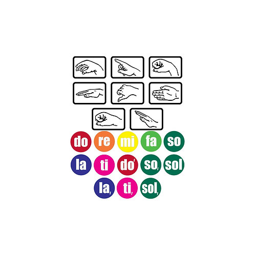 Magnetic Solfege Hand Signs and Color Dots Combo Set