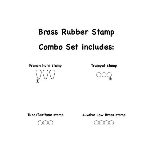 4-Piece Brass Combo Set Self-inking Rubber Stamps