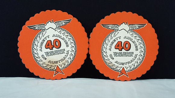 Ansett 40 years of service coasters (2), Bear Wares Vintage www.bearwaresvintage.com.au Vintage advertising