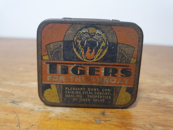 Tigers for Throat tin Bear Wares Vintage www.bearwaresvintage.com.au Old vintage advertising general store