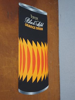 Tarax Black Label Orange Drink Can Cardboard Advertising Showcard