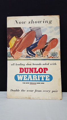 Dunlop Wearite Shoe Cardboard Advertising. Bear Wares Vintage www.bearwaresvintage.com.au Vintage shop advertising display