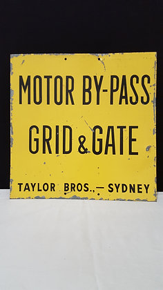 Motor by-pass grid & gate sign. Bear Wares Vintage www.bearwaresvintage.com.au