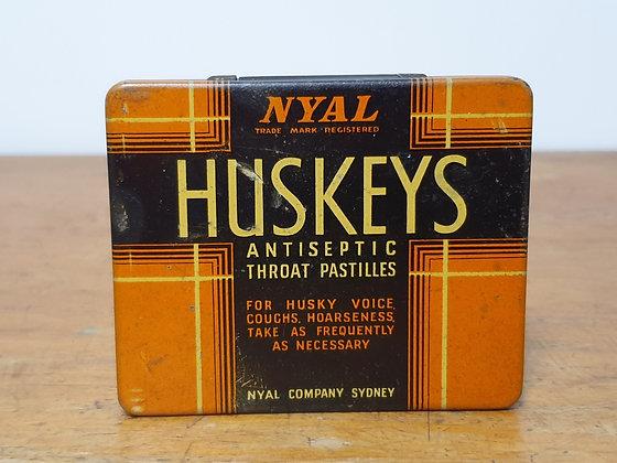 Nyal Huskeys Throat Pastilles Tin Bear Wares Vintage www.bearwaresvintage.com.au Old shop advertising old medicine cabinet