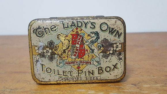 The Lady's Own Toiler Pin Box tin Bear Wares Vintage www.bearwaresvintage.com.au Old shop advertising old tins
