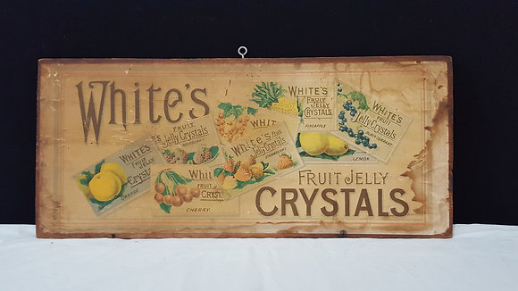 White's Fruit Jelly Crystals Paper label on crate end. Bear Wares Vintage www.bearwaresvintage.com.au Vintage advertising