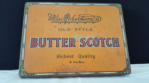 Macrobertson's Butter Scotch tin, Bear Wares Vintage www.bearwaresvintage.com.au Vintage shop advertising