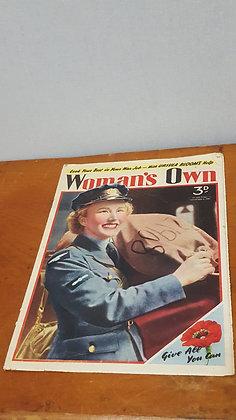 Bear Wares Vintage Woman's Own Magazine - Nov 6 1942 www.bearwaresvintage.com.au