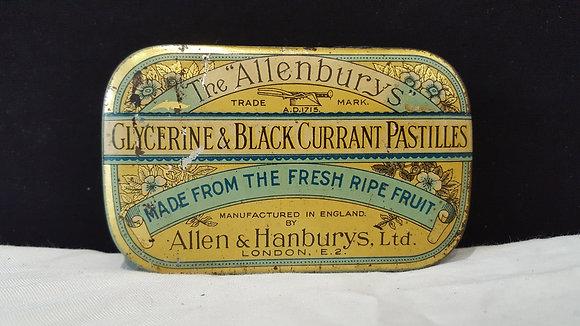 """The Allenburys"" 4 oz currant pastilles tin, Bear Wares Vintage www.bearwaresvintage.com.au Vintage shop advertising"