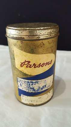 Parson's White Pepper 4 oz Cardboard tin. Bear Wares Vintage www.bearwaresvintage.com.au