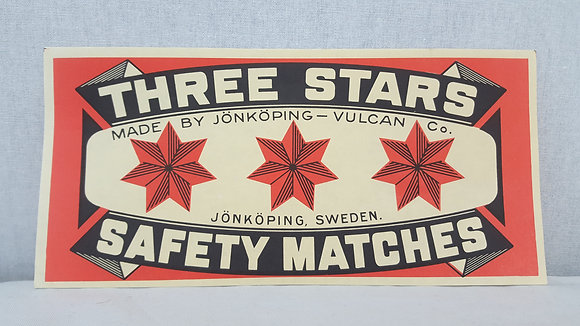 Bear Wares Vintage Three Stars Safety Matches Paper Label www.bearwaresvintage.com.au Old shop advertising