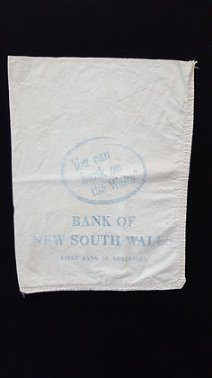 Vintage Bank of NSW Material Bank bag. Bear Wares Vintage www.bearwaresvintage.com.au Vintage shop advertising