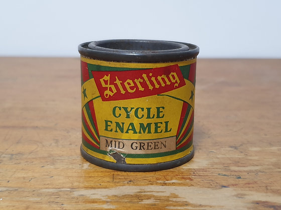 Sterling Cycle Enamel Mid Green Paper Label 1/8 pint tin Bear Wares Vintage www.bearwaresvintage.com.au Old shop advertising