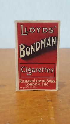 Bear Wares Vintage Lloyd's Bondman Cigarettes Packet www.bearwaresvintage.com.au Old shop advertising